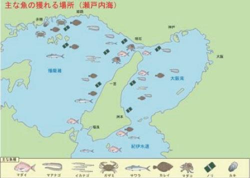 主な魚の捕れる場所(瀬戸内海)