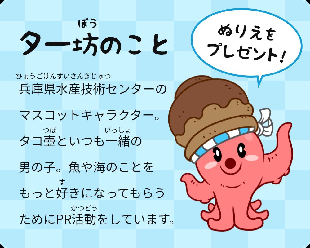 ター坊について 兵庫県水産技術センターのマスコットキャラクター。タコ壺といつも一緒の男の子。魚や海のことをもっと好きになってもらうためにPR活動をしています。
